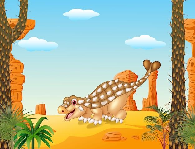 Beeldverhaal gelukkige ankylosaurus met voorhistorische achtergrond