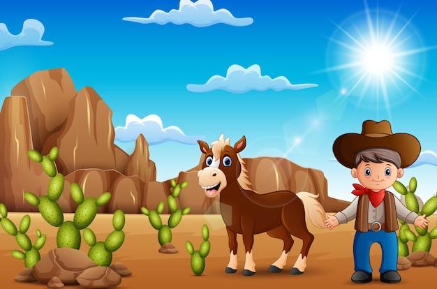 Beeldverhaal gelukkige cowboy met paard in de woestijn