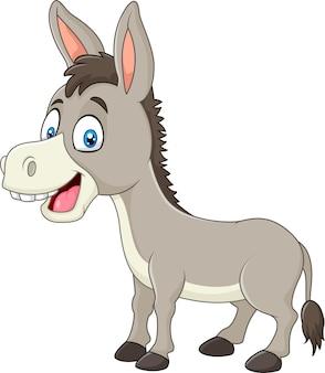 Beeldverhaal gelukkige die ezel op witte achtergrond wordt geïsoleerd
