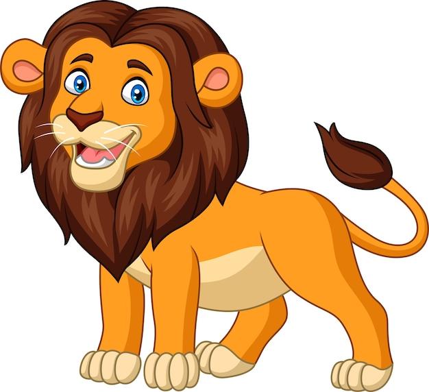 Beeldverhaal gelukkige die leeuw op witte achtergrond wordt geïsoleerd