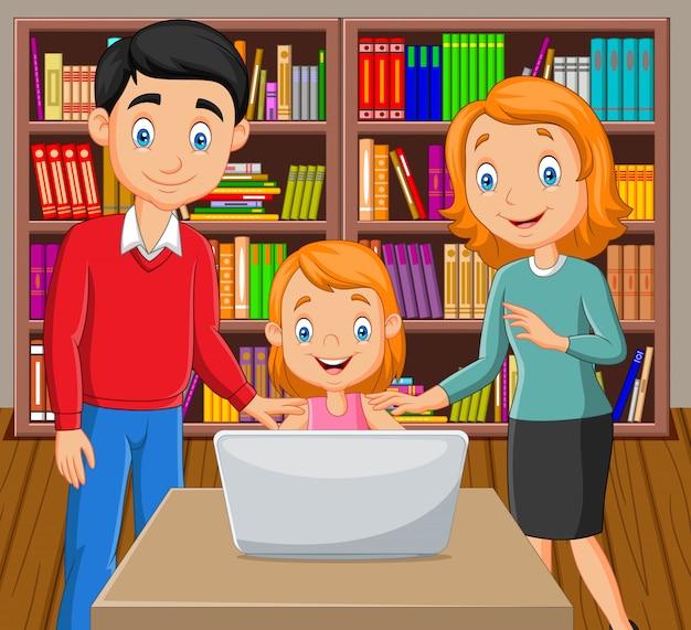 Beeldverhaal gelukkige familie die op laptop let