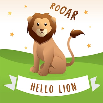 Beeldverhaal gelukkige leeuw, vectorillustratie van leeuwbeeldverhaal. leuke en grappige leeuwillustratie