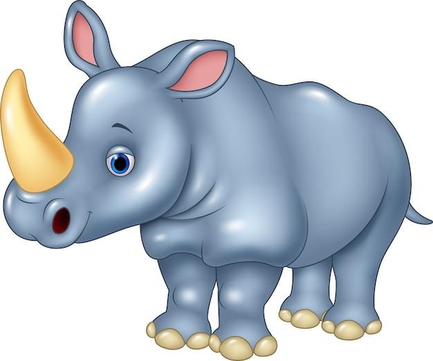 Beeldverhaal grappige die rinoceros op witte achtergrond wordt geïsoleerd