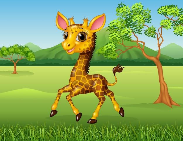 Beeldverhaal grappige giraf die in de wildernis loopt
