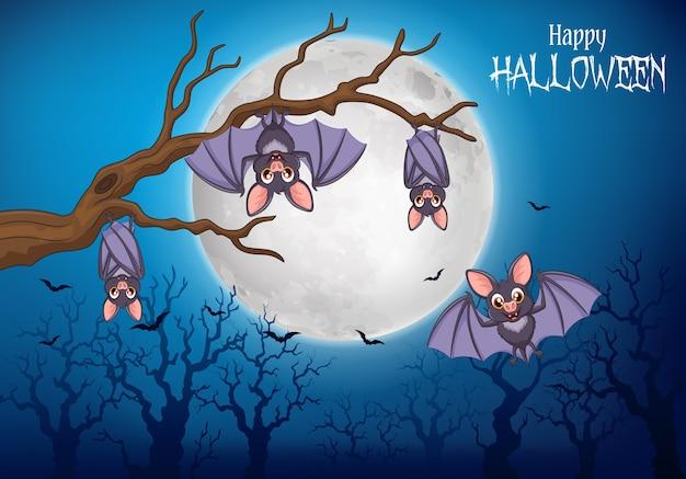 Beeldverhaal grappige knuppels die op boom met halloween-achtergrond hangen
