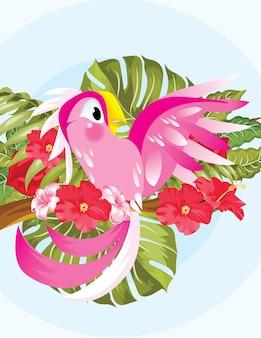 Beeldverhaal het gelukkige roze papegaai stellen in de zomer