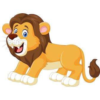 Beeldverhaal het glimlachen leeuw die op witte achtergrond wordt geïsoleerd