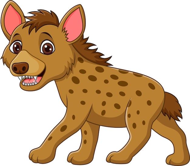 Beeldverhaal het grappige hyena lopen geïsoleerd op witte achtergrond