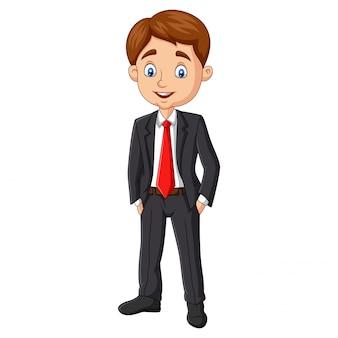 Beeldverhaal het jonge zakenman stellen op wit