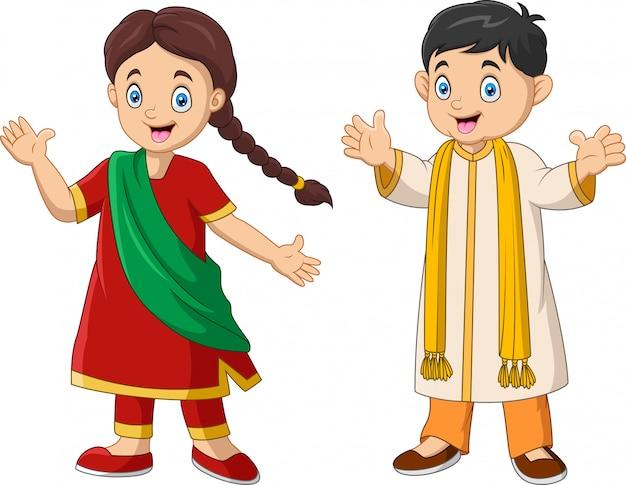 Beeldverhaal indisch paar dat traditionele kostuums draagt