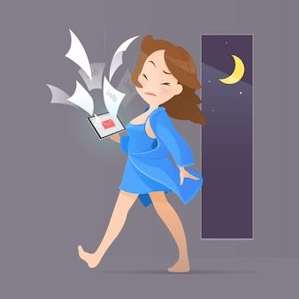 Beeldverhaal jonge vrouw in blauwe nachtkleding die van de taken van de documentcontrole in laptop wordt geschokt.