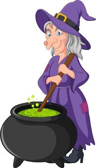 Beeldverhaal kleine heks die drankje voorbereiden