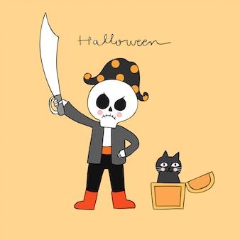 Beeldverhaal leuk halloween-piraatskelet en zwarte kattenvector.