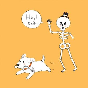 Beeldverhaal leuke halloween-skelet en hondvector.