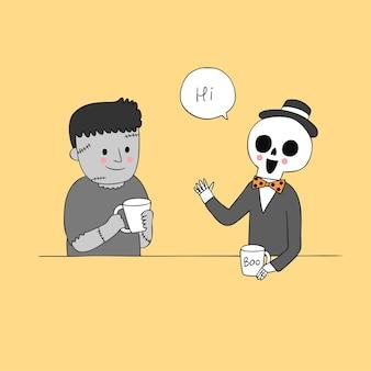 Beeldverhaal leuke halloween-sprekende zombievector.