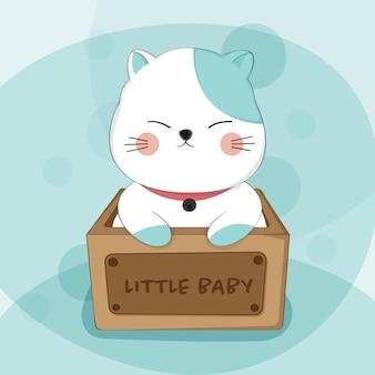 Beeldverhaal leuke kat in het dierlijke karakter van de doosschets