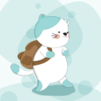Beeldverhaal leuke kat met het dierlijke karakter van de rugzakschets