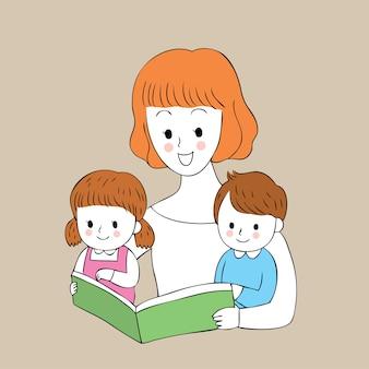 Beeldverhaal leuke mamma en kinderen die een boekvector lezen.