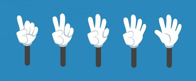 Beeldverhaal tellende hand met aantalgebaren geïsoleerde reeks. aftellen met vingers vectorsymbolen