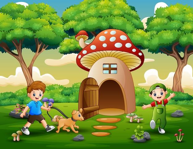 Beeldverhaal twee jongens die op het fantasiehuis spelen