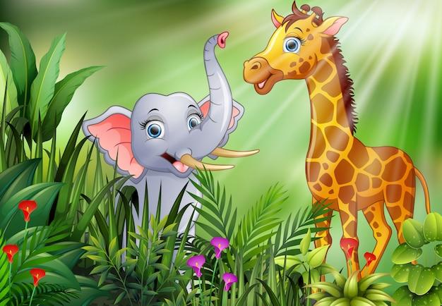 Beeldverhaal van aardscène met olifant en giraf