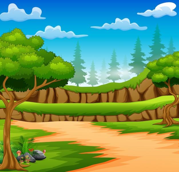 Beeldverhaal van bosachtergrond met landweg