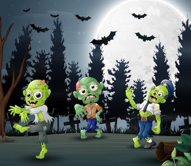 Beeldverhaal van drie zombieën op de bosachtergrond
