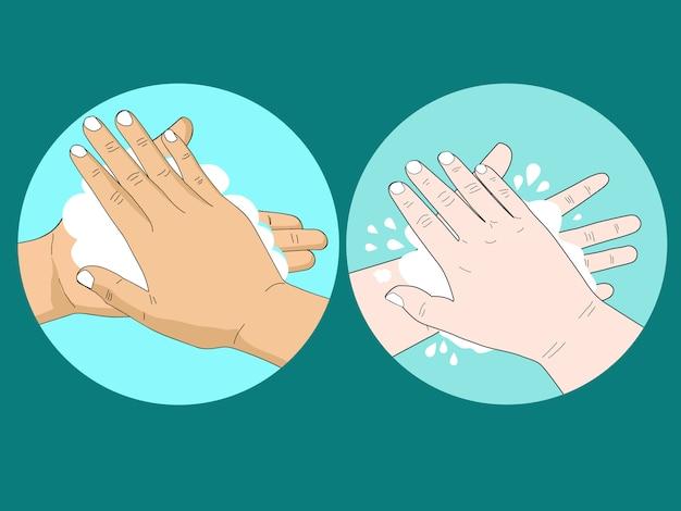 Beeldverhaal van mensen die hand met zeep en bel wassen