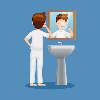 Beeldverhaal van mensen die tandenillustratie borstelen