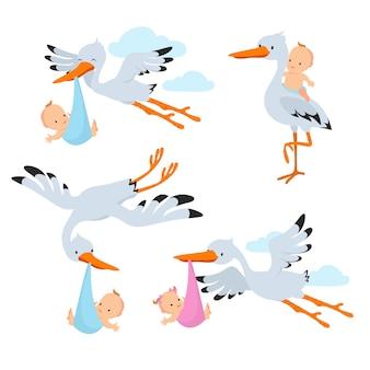 Beeldverhaal vliegende ooievaars en ooievaarsvogels die baby vectorreeks dragen