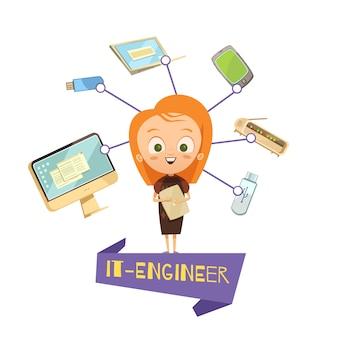 Beeldverhaal vrouwelijk beeldje van het ingenieur en gegevensuitwisseling geplaatste hulpmiddelenpictogrammen
