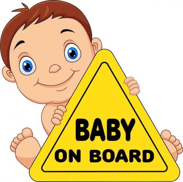 Beeldverhaalbaby die aan boord van geel veiligheidsteken houden