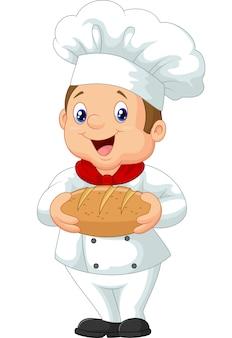 Beeldverhaalchef-kok die een brood van brood houdt