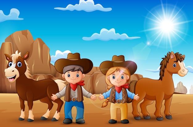 Beeldverhaalcowboy en veedrijfster met dieren in de woestijn