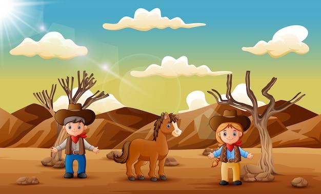 Beeldverhaalcowboy en veedrijfster met een paard in de woestijn