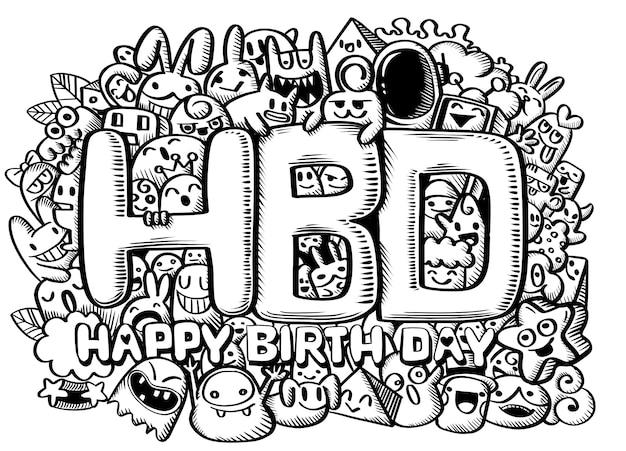 Beeldverhaaldier en gelukkige verjaardag, hand getrokken vectorillustratie van krabbel, de hulpmiddelen van illustratorlijn het trekken, vlak ontwerp