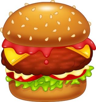 Beeldverhaalhamburger op witte achtergrond wordt geïsoleerd die