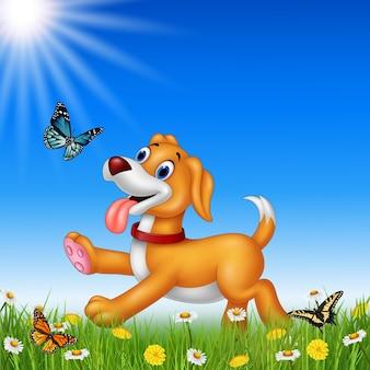Beeldverhaalhond met aardachtergrond