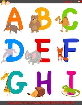 Beeldverhaalillustratie van alfabet dat met dieren wordt geplaatst
