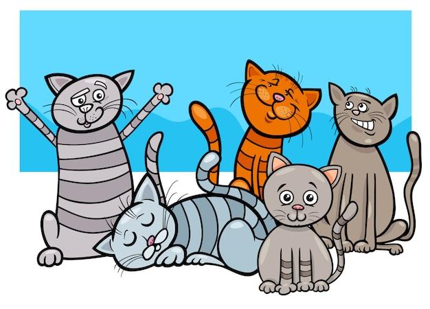 Beeldverhaalillustratie van de groep van katten dierlijke karakters