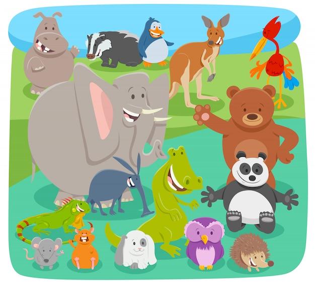 Beeldverhaalillustratie van dierlijke karaktersgroep