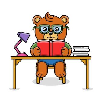 Beeldverhaalillustratie van een beer die een boek lezen
