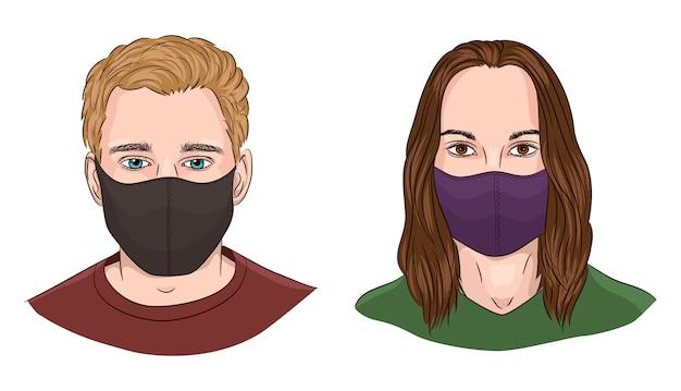 Beeldverhaalillustratie van een man en een vrouw die gezichtsmaskers dragen