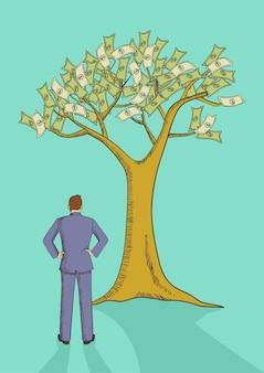 Beeldverhaalillustratie van een mens die geldboom bekijken