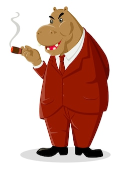 Beeldverhaalillustratie van een nijlpaard die een sigaar roken