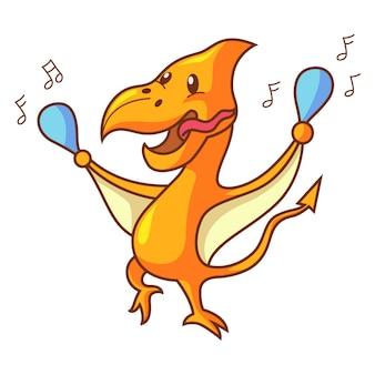 Beeldverhaalillustratie van het leuke dinosaurus pteranodon dansen.