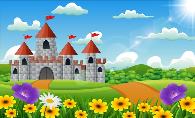 Beeldverhaalillustratie van kasteel op heuvellandschap