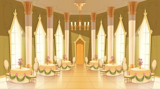 Beeldverhaalillustratie van kasteelzaal, balzaal voor het dansen, koninklijke ontvangsten