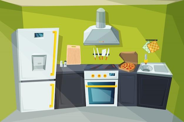 Beeldverhaalillustratie van keukenbinnenland met divers modern meubilair