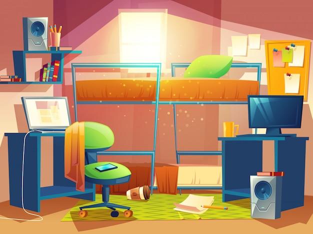 Beeldverhaalillustratie van kleine dormruimte, slaapzaalbinnenland binnen, herbergenslaapkamer